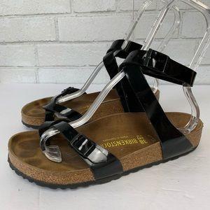 Birkenstock Yara Black Patent Ankle Strap Buckle 7